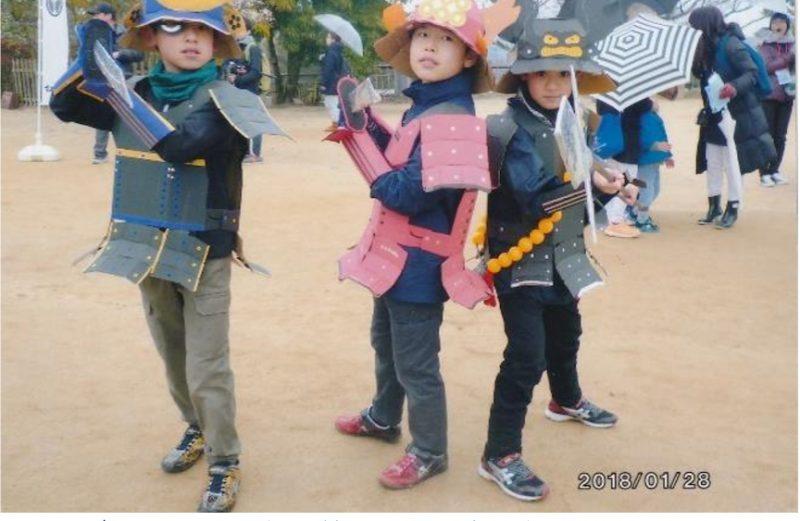 松山城イベント子ども武者写真