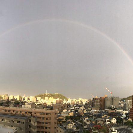 朝の虹です